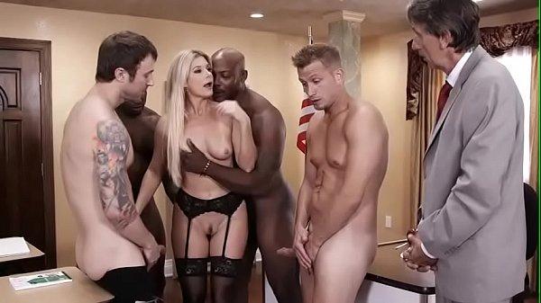 Gang banging sexy milf teacher in stockings